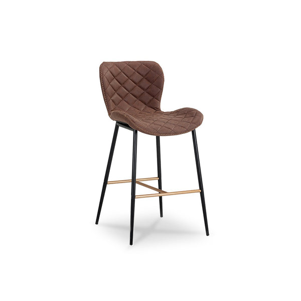 Modern Diamond Quilted brown Leatherette Counter Stool with zig zag stitching black legs and gold stretchers