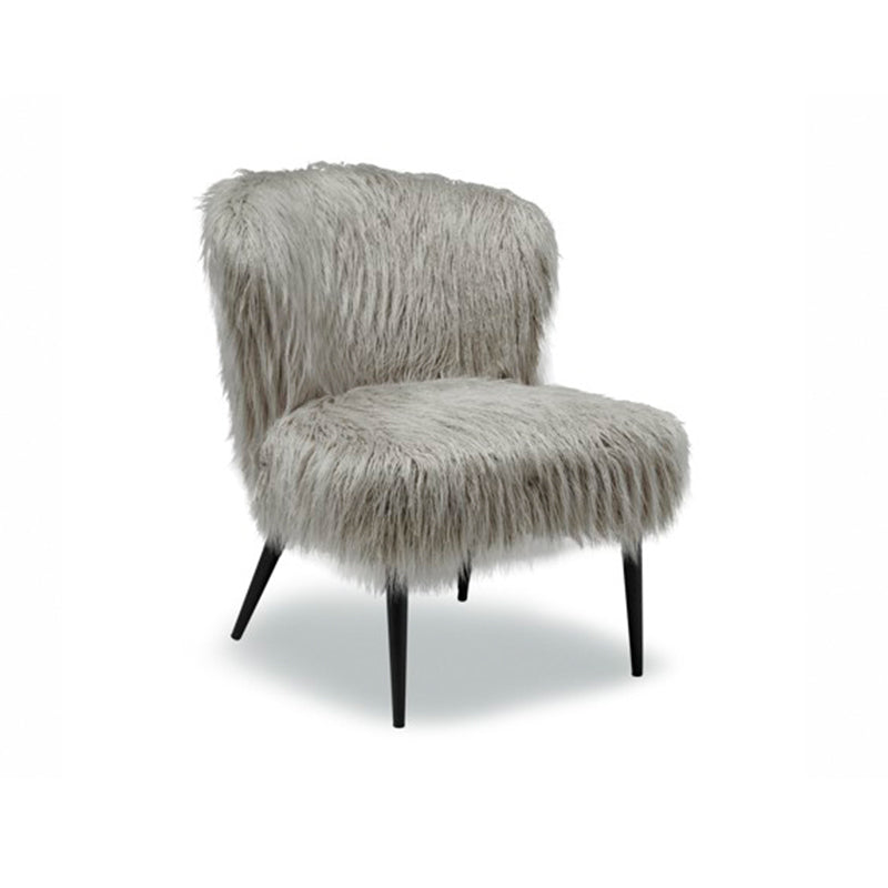 Grey modern Fur arm chair with metal legs