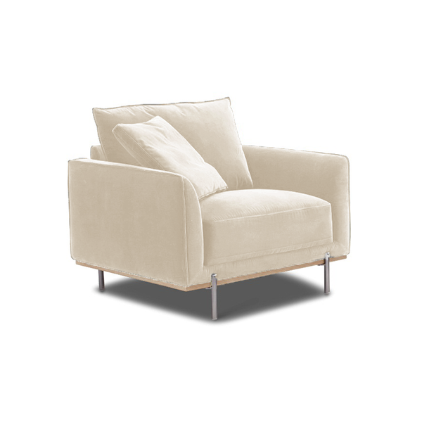 modern khaki beige fabric arm chair with wood trim and polished silver metal legs