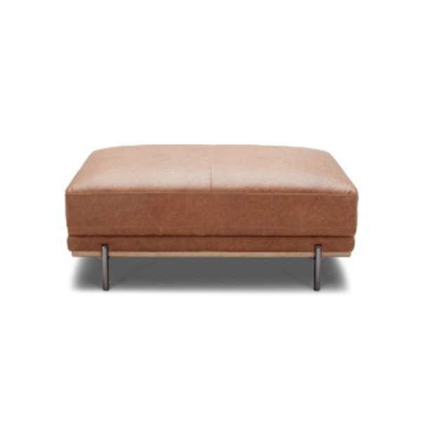 modern saddle brown leather ottoman with solid wood base and polished metal legs