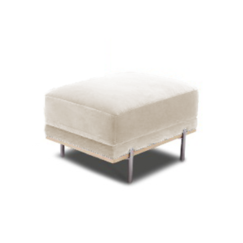 modern khaki beige fabric ottoman with wood trim and polished silver metal legs