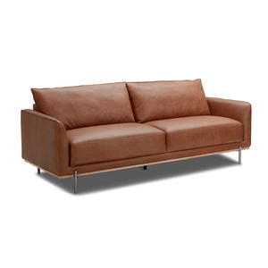 modern saddle brown leather sofa with solid wood base and polished metal legs