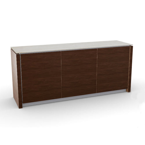 modern custom order 3 Door wood buffet with ceramic glass top