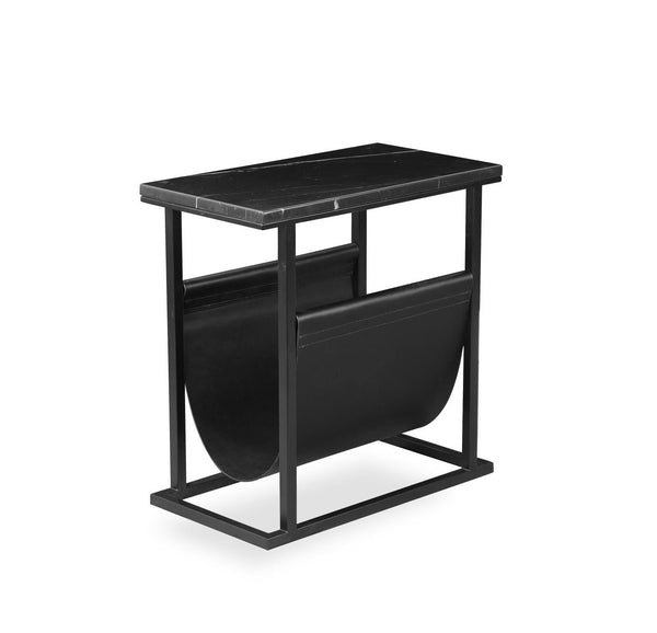 Black marble modern end table with metal base and magazine sling