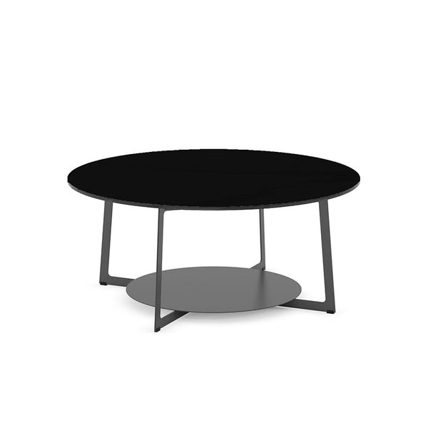 Modern Custom Order Round Coffee Table with Black Glass Top and Metal Base