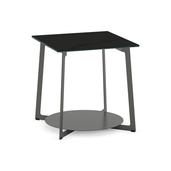 Modern Custom Order Square End Table with Glassd Top and Metal Base