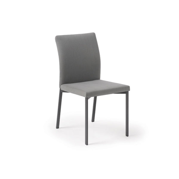 Grey modern upholstered dining chair with metal legs