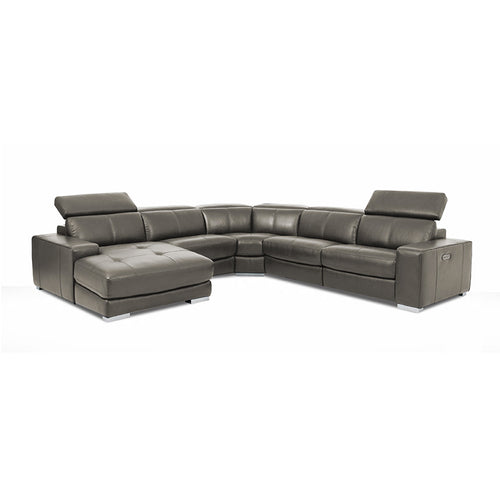 Dark elephant grey modern leather reclining sectional with chaise left hand facing