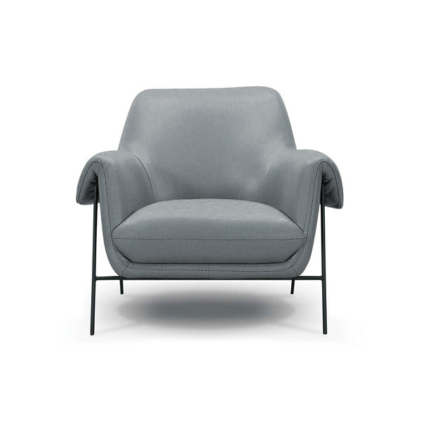 modern pewter grey fabric arm chair with black wire metal frame