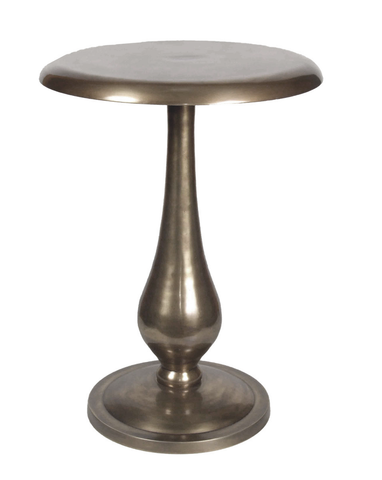 Shiny nickel modern round pedestal end table