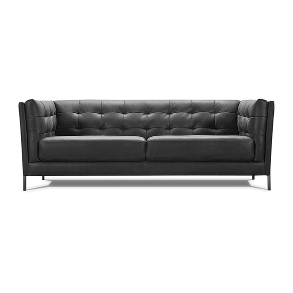 modern top grain leather button tufted sofa with metal legs