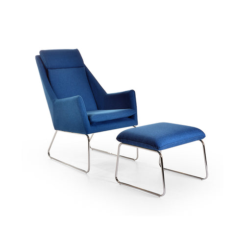 modern mid century blue fabric chair and ottoman with Chrome Legs