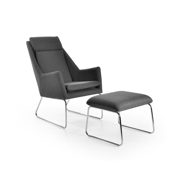 modern mid century grey fabric chair and ottoman with Chrome Legs
