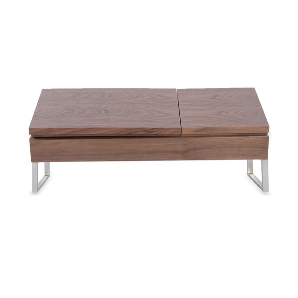 Modern Walnut Convertible Coffee Table with Stainless Steel Legs