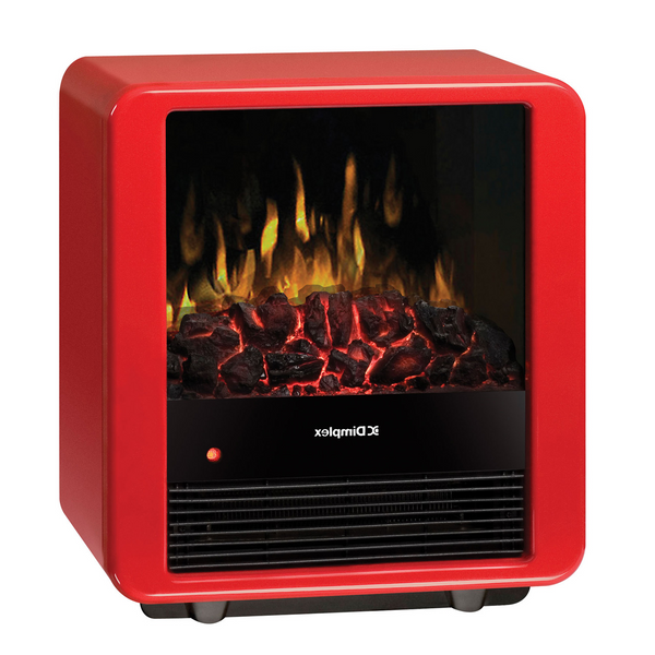 Small red modern electric cube fireplace