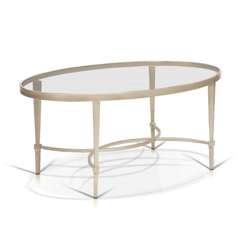 Modern glass coffee table with champagne gold base