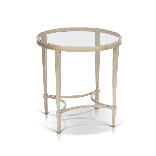 Modern round glass end table with champagne metal base