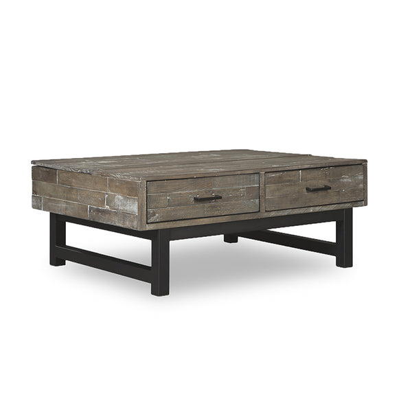 modern rustic grey wood coffee table with split lift and storage and black metal base