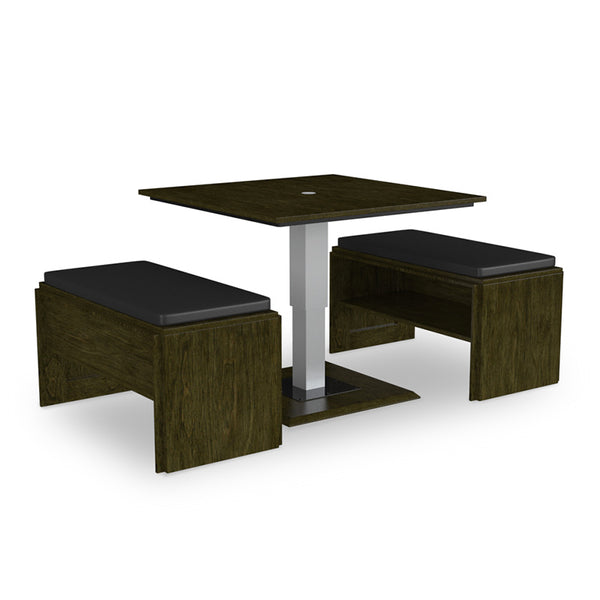 Modern Convertible White Coffee Table to Dining Table with 2 Padded Benches