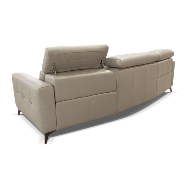 modern luxury italian custom order leather sofa in oyster beige