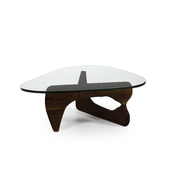 modern noguchi like coffee table with black oak base and glass top