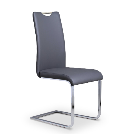 Grey modern leatherette dining chair with  chrome base