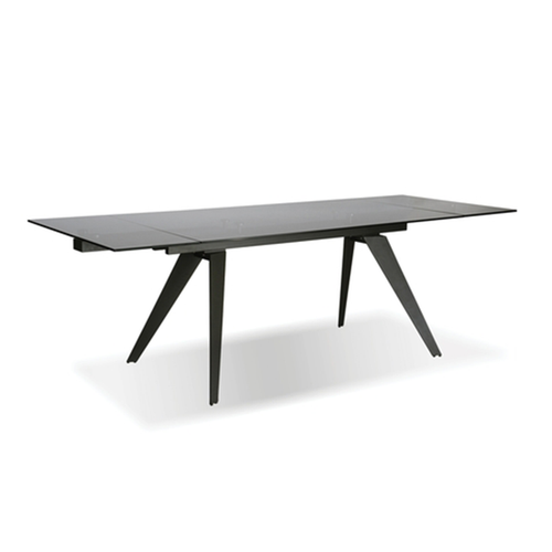 modern rectangular extendible dining table with smoked glass top and graphite powder coated steel base