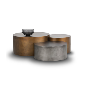 modern set of 3 round metal nesting coffee tables with silver and bronze finish