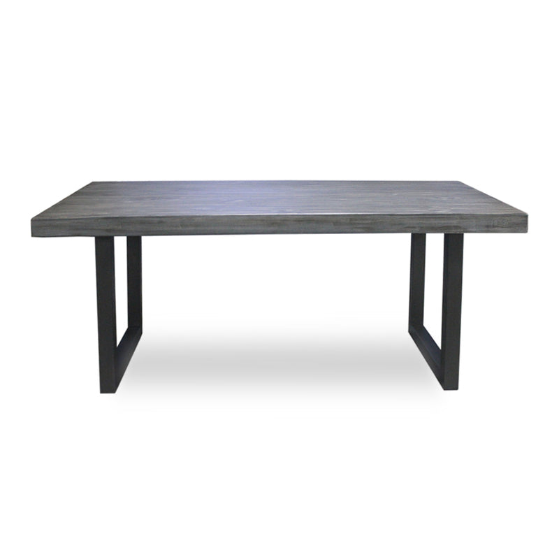 modern recycled grey stained pine dining table with black metal trestle base