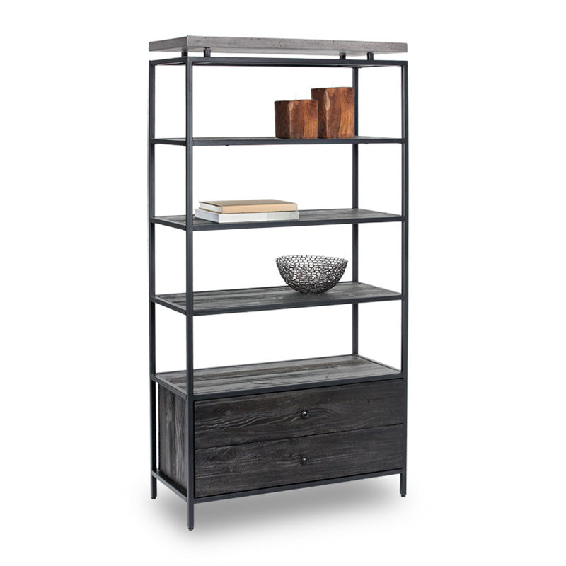 rustic modern bookcase with concrete top black metal frame and coffee bean stained pine shelves