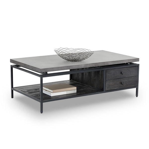 modern concrete topped coffee table with black metal frame and pine shelf and drawer in coffee bean finish