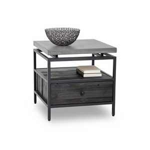 modern concrete topped end table with black metal frame and pine shelf and drawer in coffee bean finish