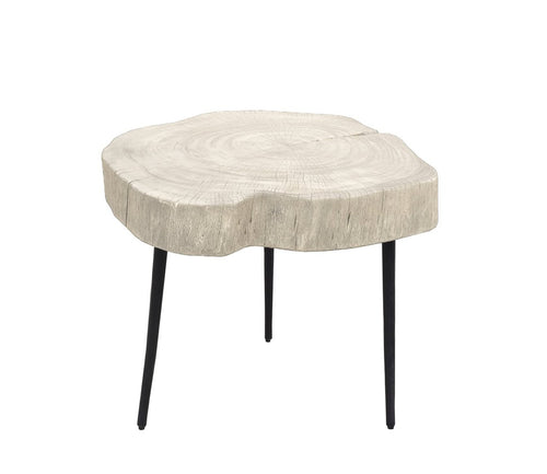 Organic Trunk Side Table - White Washed