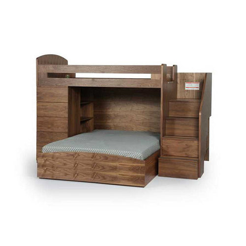 Modern walnut melamine veneer bunk bed with drawers and rainbow LED