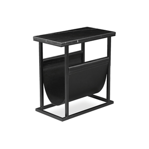 Black modern marble end table magazine rack with black powder coat steel frame