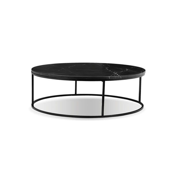 Black modern marble round coffee table with black powder coat steel frame