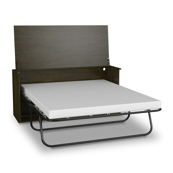 modern convertible desk to queen bed show with chair in Anthracite finish