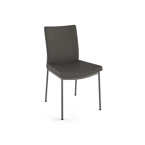 modern Dark grey fabric dining chair with metal legs