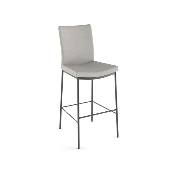 modern high back beige grey fabric counter stool with metal legs