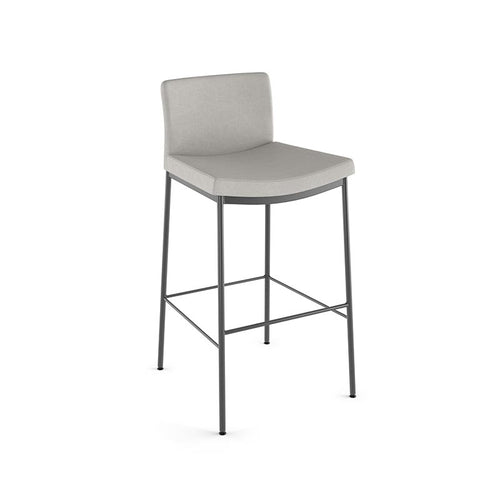 modern beige grey fabric counter stool with metal legs