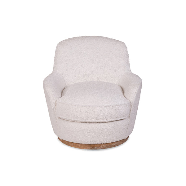 modern sheepskin white plush swivel chair with wood base