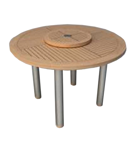 Round modern teak  outdoor dining table with lazy susan