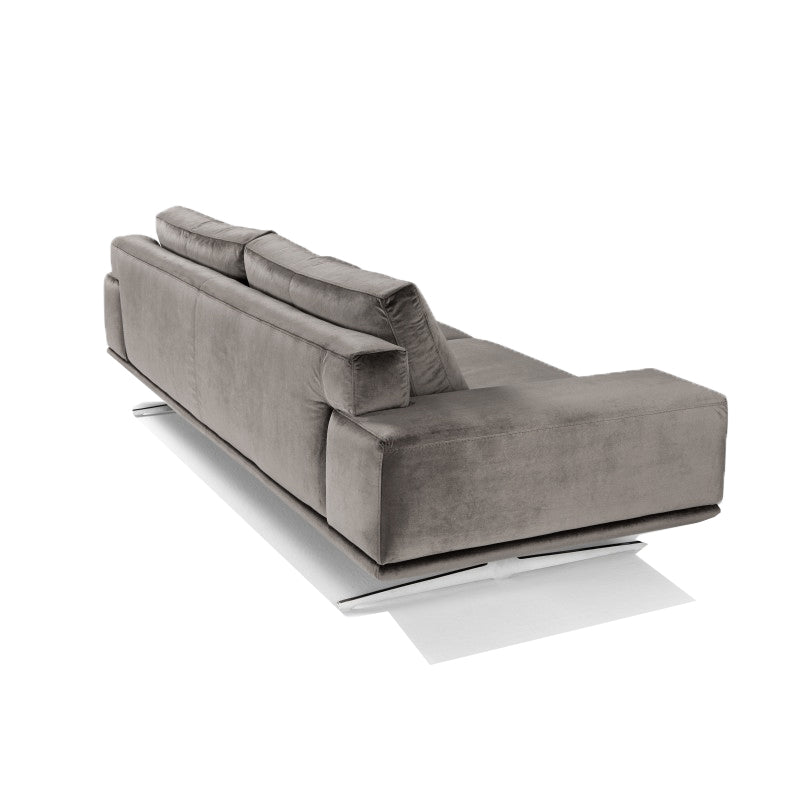 modern oversize italian fabric sofa with metal trestle leg