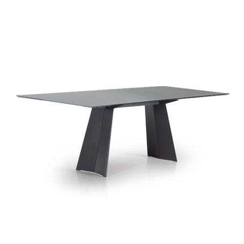 Modern Custom Order Dining Table with Metal Trestle Base and Etched Glass Top by Trica