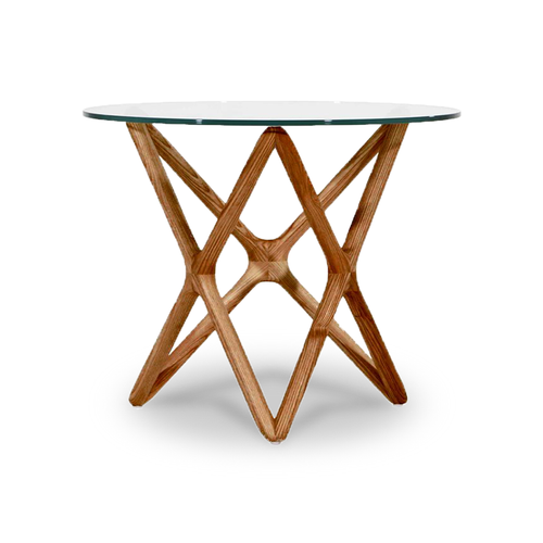 modern end table with round glass top and diamond crossed wood base
