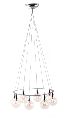 Glass and chrome modern ceiling lamp with eight globe lights in a ring