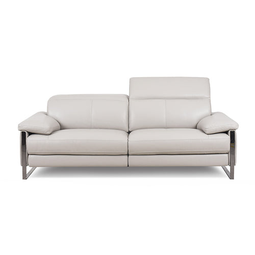 frost grey modern leather power reclining sectional with USB port