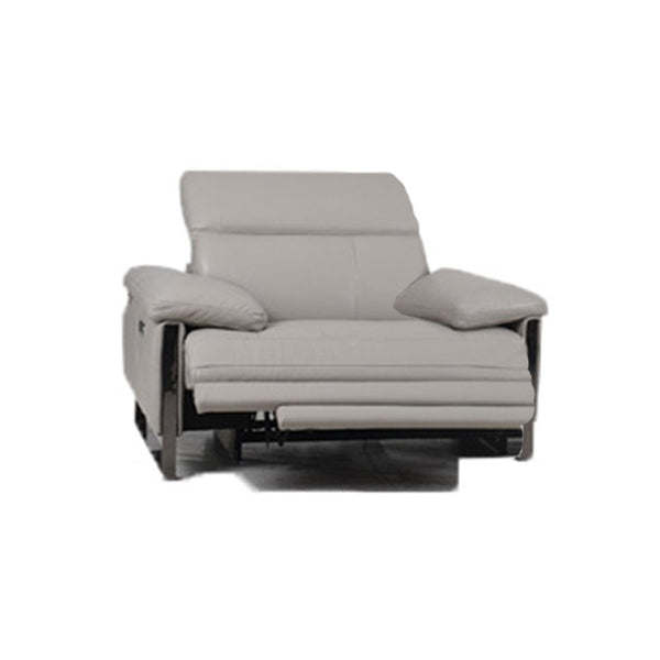frost grey modern leather power reclining chair with USB port