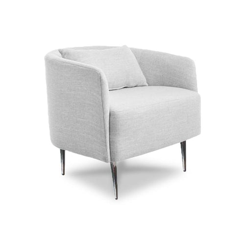 Modern light grey fabric Tub Chair with tapered metal leg angle view
