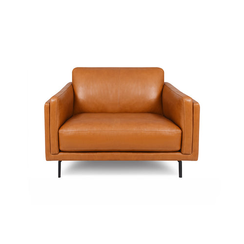 modern sierra saddle brown leather arm chair